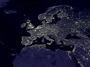 Vanuit ISS: europa in de nacht