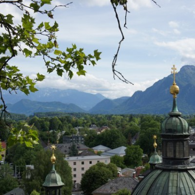 Salzburg vanaf terras Stiegl