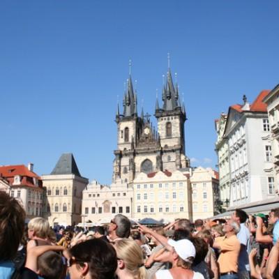 Het was druk voor het uurwerk Praag